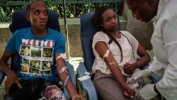 Some Kenyan University students donating blood for the first time at the August 7 Memorial part