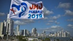 Panama youth fest and and panoramic view of the city over a wyd flag