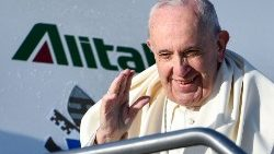 Pope left for Panama on an Alitalia flight on Jan. 23, 2019.