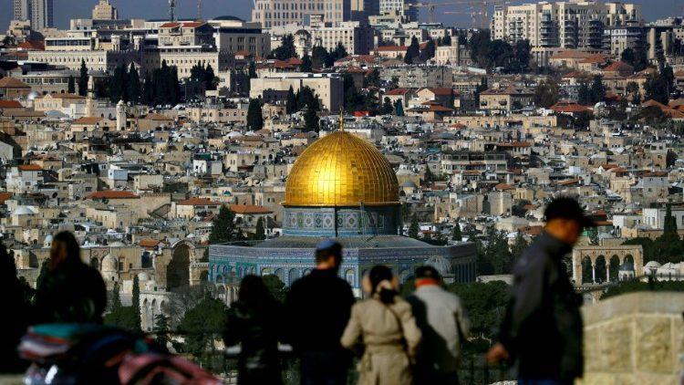 Panorama de la Vieille Ville de Jérusalem depuis le Mont des Oliviers, le 23 janvier 2019.