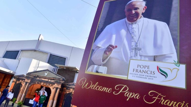 A poster of Pope Francis at St. Mary's Catholic Church in Dubai ahead of his Feb. 3-5 apostolic visit to the UAE.