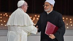 (File photo) Pope Francis and Ahmed el-Tayyeb shake hands after signing the Document in Abu Dhabi