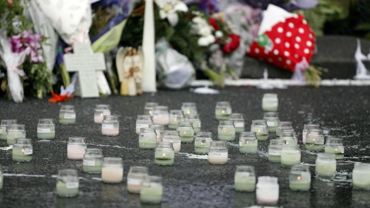 Candles at Christchurch shooting memorial site