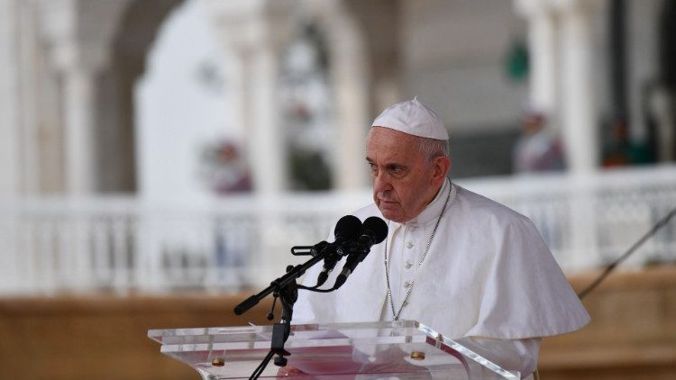 Pope Francis delivering a speech in Rabat, Morocco on March 30, 2019.