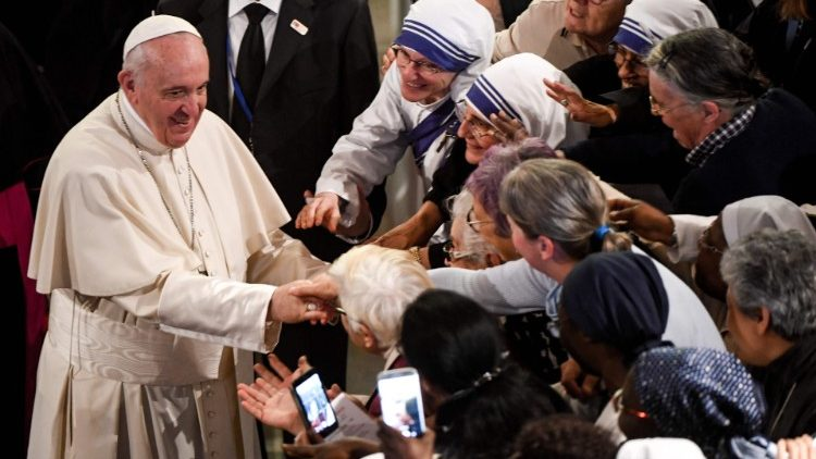 Pope Francis meets men and women religious in Rabat's Cathedral of Saint Peter, Morocco