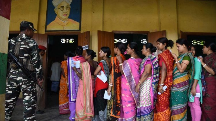 Indian voters at a polling station in the state of Assam on April 11, 2019.