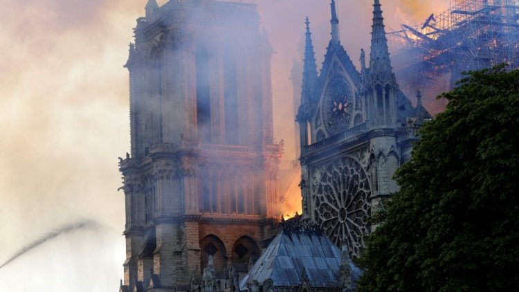 Flames and smoke engulf Notre Dame Cathedral