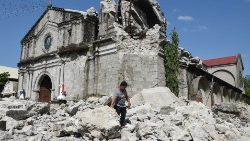 An earthquake in the Philippines wreaks damage on the Church of St. Catherine of Alexandria in the town of Porac
