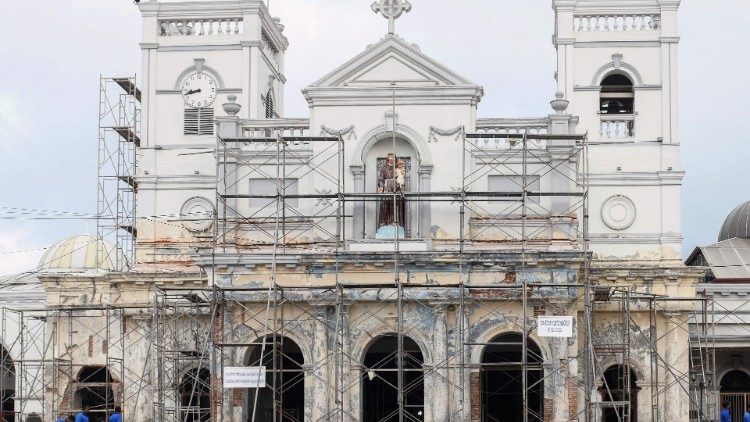 Scaffolding surrounds St. Anthony's Shrine in Colombo, two weeks after deadly terrorist attacks