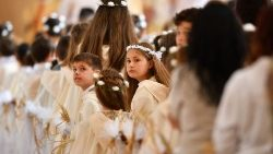 First communicants await Pope Francis's arrival in Sacred Heart Church, Rakovski, Bulgaria, 6 May 2019