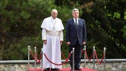 Pope Francis  and President  Gjorge Ivanov of North Macedonia in Skopje.