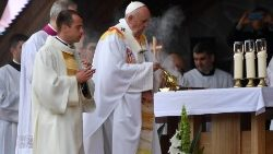 Pope Francis during Mass at Shine of Sumuleu-Ciuc