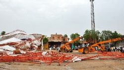 A view of the area after the tent collapse