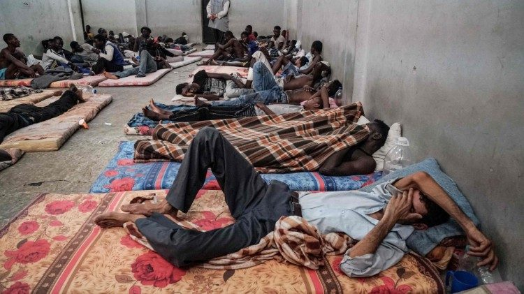 Illegal immigrants at a detention centre in Libya.