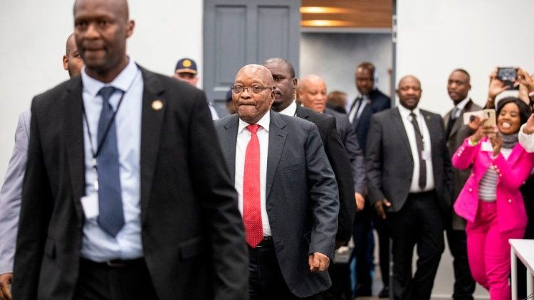 Former South African President, Jacob Zuma, arrives at the Commission of Inquiry into State Capture
