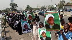 members of the Islamic Movement in Nigeria demonstrate against the detention of their leader