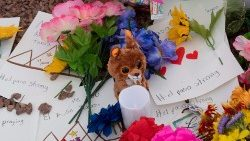 A memorial near the site of the mass shooting in El Paso, Texas