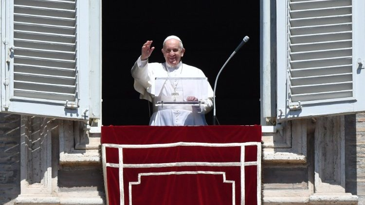 Pope Francis at the Angelus window of the Apostolic Palace
