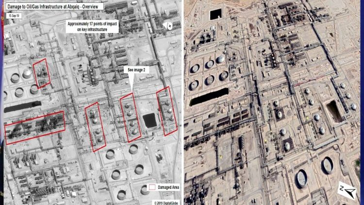 Le aree danneggiate nei siti petroliferi sauditi