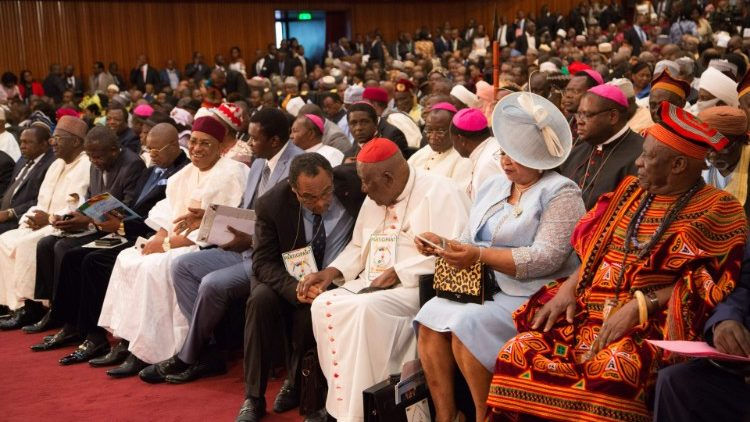 Cardinal Christian Tumi (in white robes and red cap) at the National Dialogue