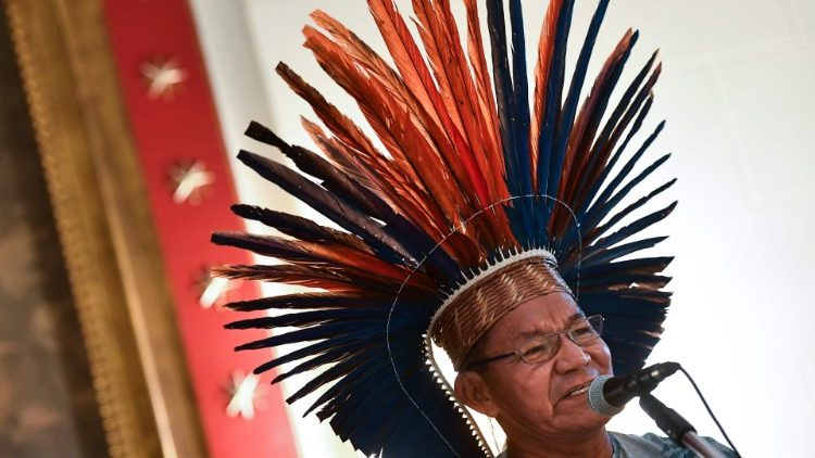 The head of the Macuxi ethnic group of northern Brazil's Roraima state speaks during a convention on the Amazon Synod