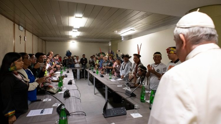 Pope meets with group of indigenous people at the Synod