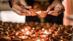 Clay oil lamps are used to mark Diwali, the Hindu festival of lights.