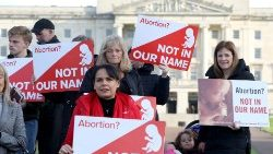 Pro-life campaigners in Northern Ireland protest the legalization of abortion