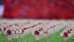 Poppies at War Memorial to remember Britain's war dead