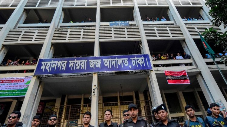 Bangladesh security personnel stand guard at the Anti-Terrorism Special Tribunal of Dhaka on November 27, 2019.