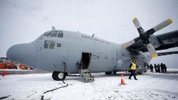 Archive photo taken at Chile's Antarctic base showing a Chilean Air Corce C-130 Hercules cargo plane