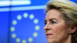 Ursula von der Leyen, President of the European Commission, at a press conference during the European Union Summit in Brussels