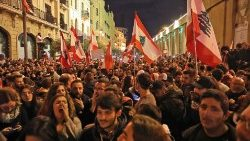 Lebanese demonstrators take to the streets in Beirut