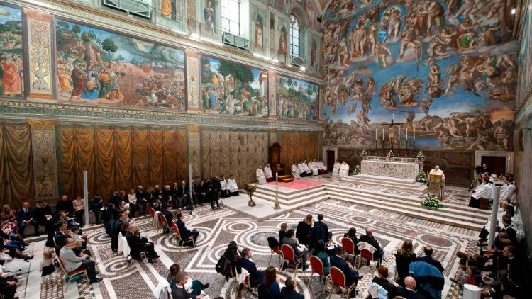 Archive image of Pope Francis celebrating Mass in the Sistine Chapel to baptize 32 babies on 12 January 2020.