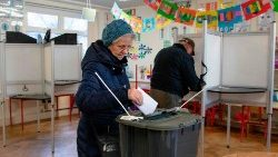 Woman casts her vote in Irish General Election