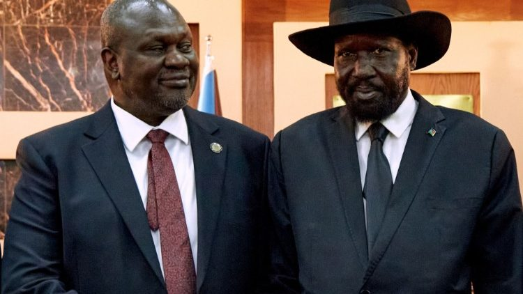 First Vice President, Riek Machar (left) with President Salva Kiir Mayardit
