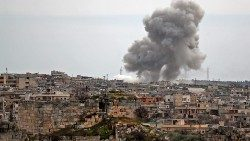 Air strikes on al-Bara town in Syria's Idlib province.