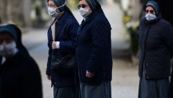 A group of nuns during the COVID-19 pandemic in Bergamo, Italy