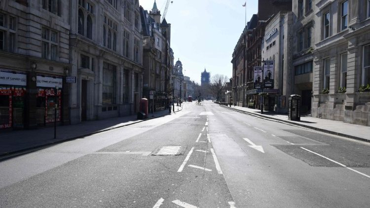 A deserted Whitehall in London after Britain ordered a lockdown to slow the spread of Coronavirus