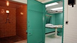 The entrance to the 'death chamber' at the Texas Department of Criminal Justice Huntsville Unit, USA