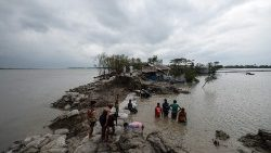 Destruction and flooding in Burigoalini, Bangladesh, after Cyclone Amphan.