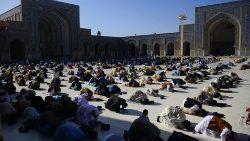 Muslims pray at the start of the Eid al-Fitr festival in Herat
