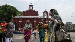 Pakistani Christians in front of the Mary Immaculate Church, Lahore