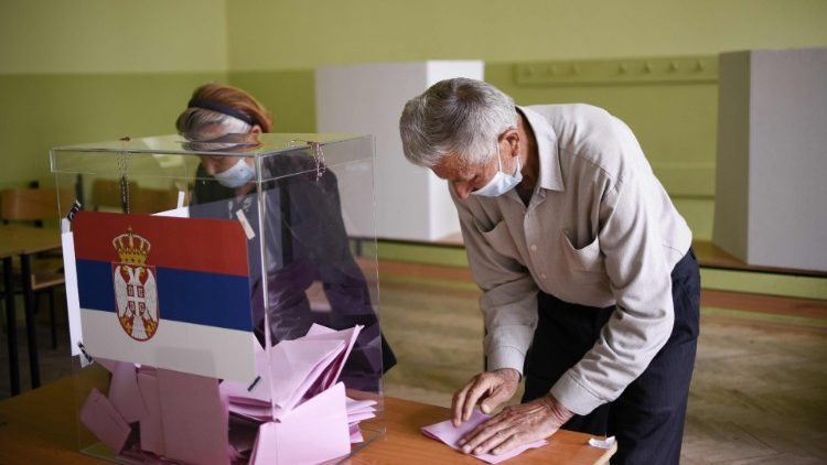 Voters cast their ballots in Gracanica