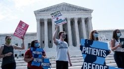 Pro-life activists demonstrating in front of the U.S. Supreme Court last Monday
