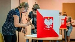 Poles vote at a polling station in Warsaw