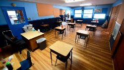 An empty classroom in elementary school