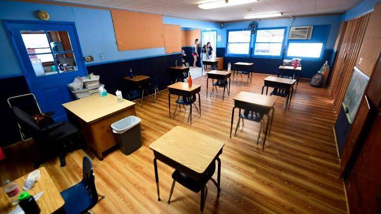 Children entering a classroom