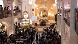 Aleppo's Maronite Cathedral of Saint Elijah during the inaugural ceremony marking its restoration