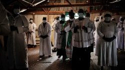 Members of the Legion of Mary attending Church in the Kebera slum of Nairobi 26 July 2020
